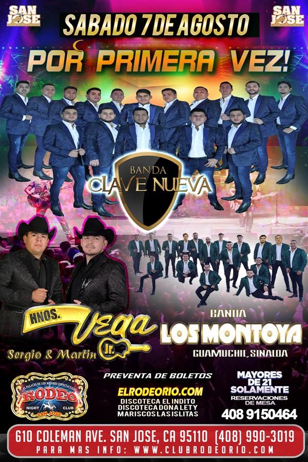 Obtener información y comprar entradas para Banda Clave Nueva,Los Hnos Vega y Banda Los Montoya  en elrodeorio.com.
