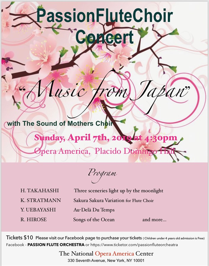"""Get Information and buy tickets to Passion Flute Choir Concert """"Music from Japan"""" with The Sound of Mothers Choir on Passion flute orchestra"""