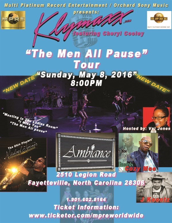 "Get Information and buy tickets to ""The Men All Pause Tour"" with KLYMAXX ft CHERYL COOLEY  on Multi Platinum Record Ent"