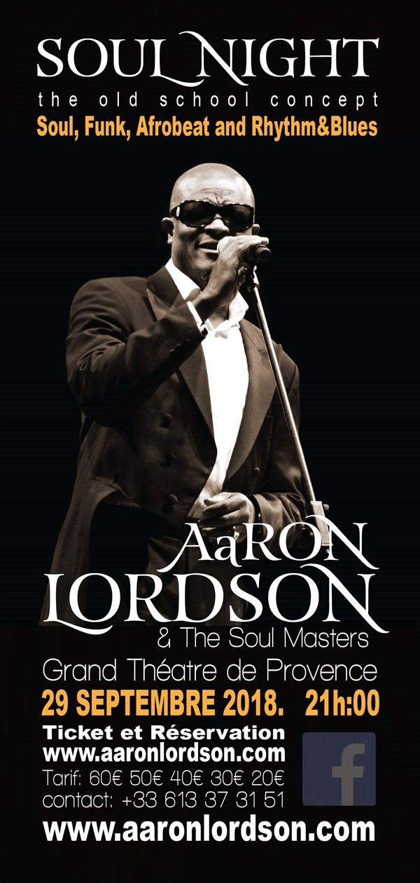 Get Information and buy tickets to AaRON LORDSON & THE SOUL MASTERS  on www.aaronlordson.com