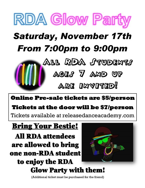 Get Information and buy tickets to RDA Glow Party 2018  on Release Dance Academy