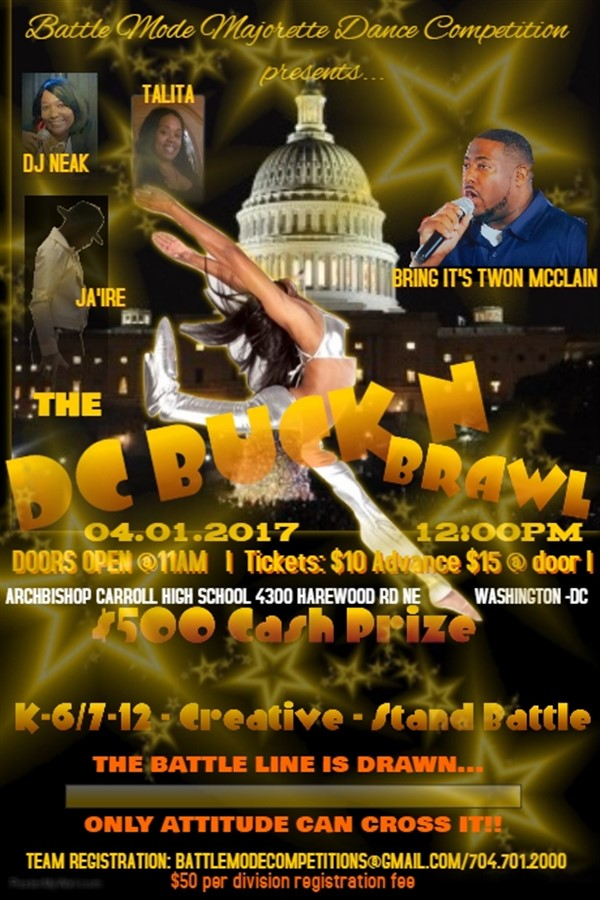 Get Information and buy tickets to DANCE TEAM Registration DC Buck N Brawl Team Registration on BATTLE MODE
