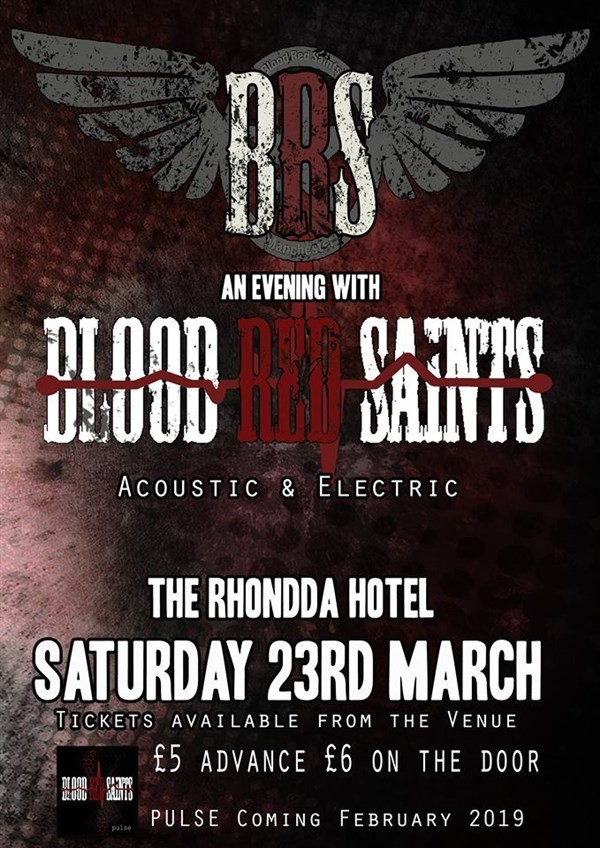 Get Information and buy tickets to Blood Red Saints  on www.rhonddahotel.com