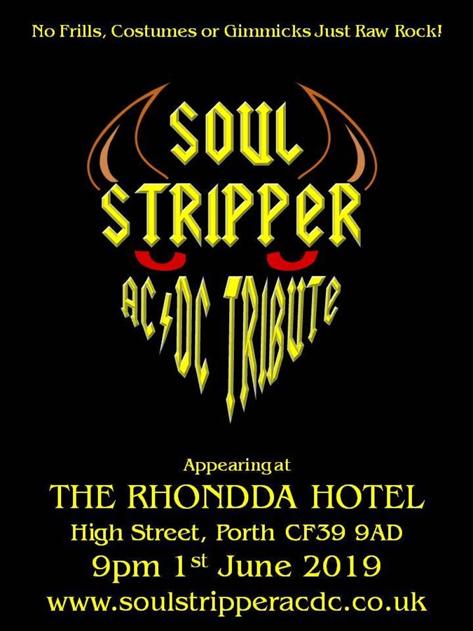 Get Information and buy tickets to Soul Stripper (AC/DC Tribute) on www.rhonddahotel.com
