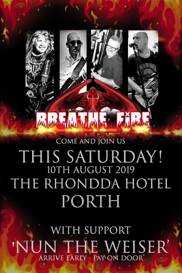 Get Information and buy tickets to Breathe Fire Rock Covers on www.rhonddahotel.com