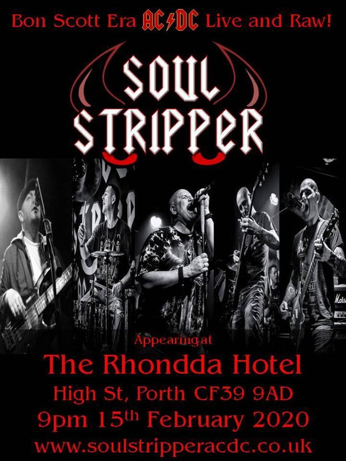 Get Information and buy tickets to Soul Stripper AC/DC Tribute on www.rhonddahotel.com