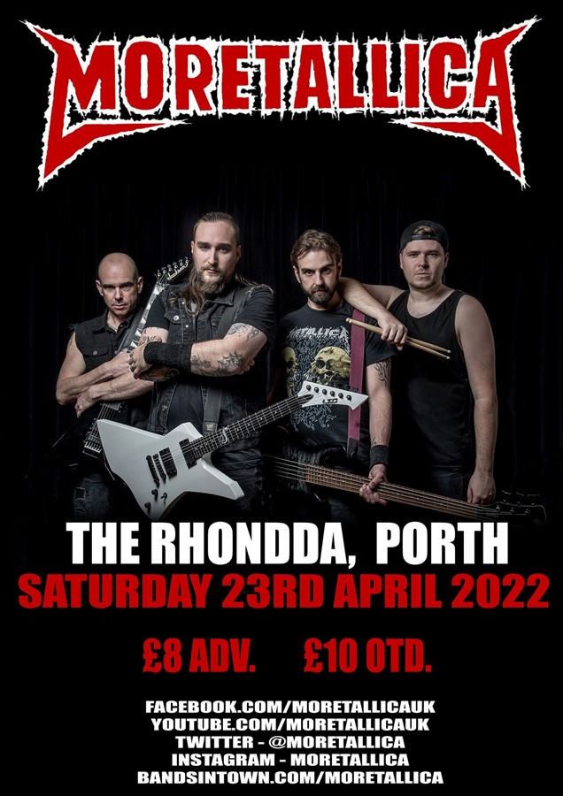 Get Information and buy tickets to Moretallica (rescheduled) on www.rhonddahotel.com