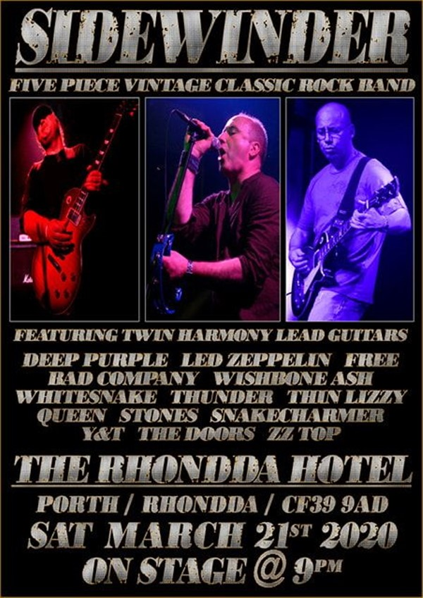 Get Information and buy tickets to Sidewinder (Classic Rock) on www.rhonddahotel.com