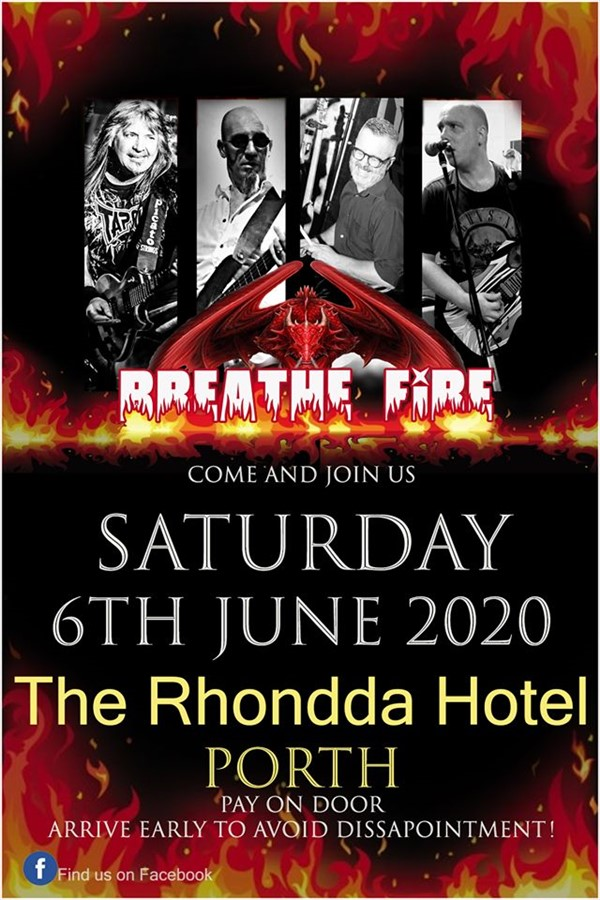 Get Information and buy tickets to Breath Fire (Rock Covers) on www.rhonddahotel.com