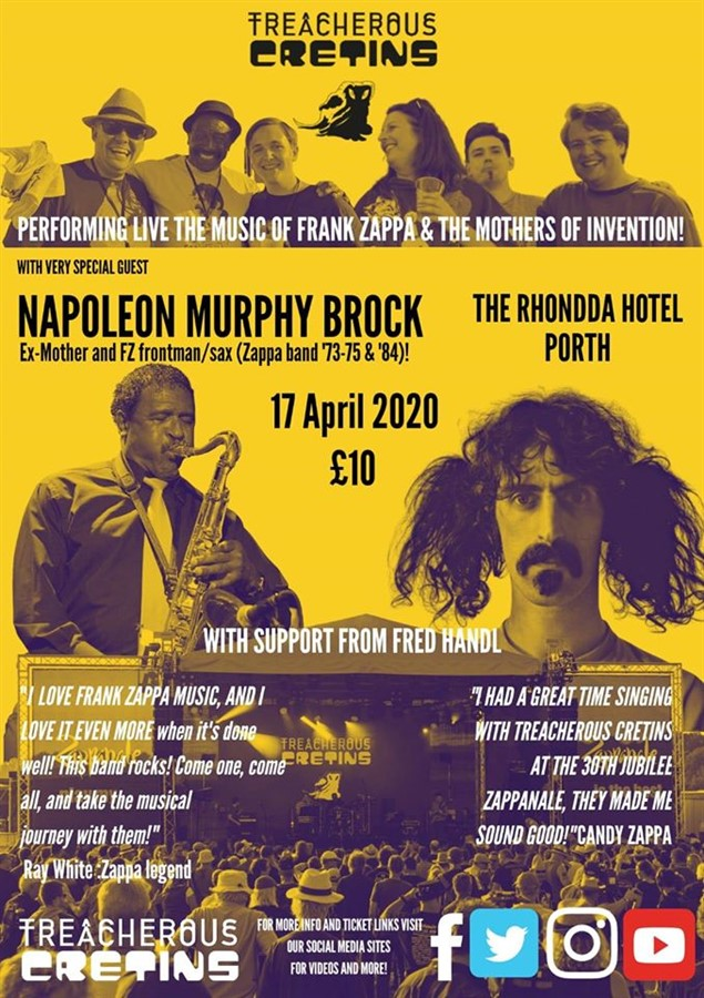 Get Information and buy tickets to Trecherous Cretins featuring Napoleon Murphy Brock Postponed will be rearranged and all tickets valid/refunded on www.rhonddahotel.com
