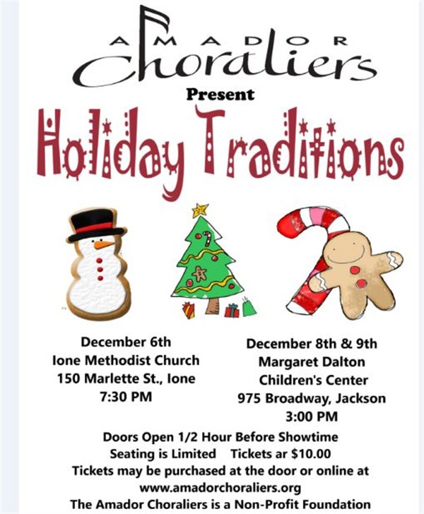 Get Information and buy tickets to Amador Choraliers Presents Christmas Traditions on Amador Choraliers