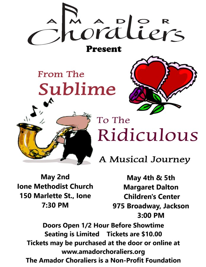 Get Information and buy tickets to 2019 Spring Concert- From the Sublime to the Ridiculous  on Amador Choraliers