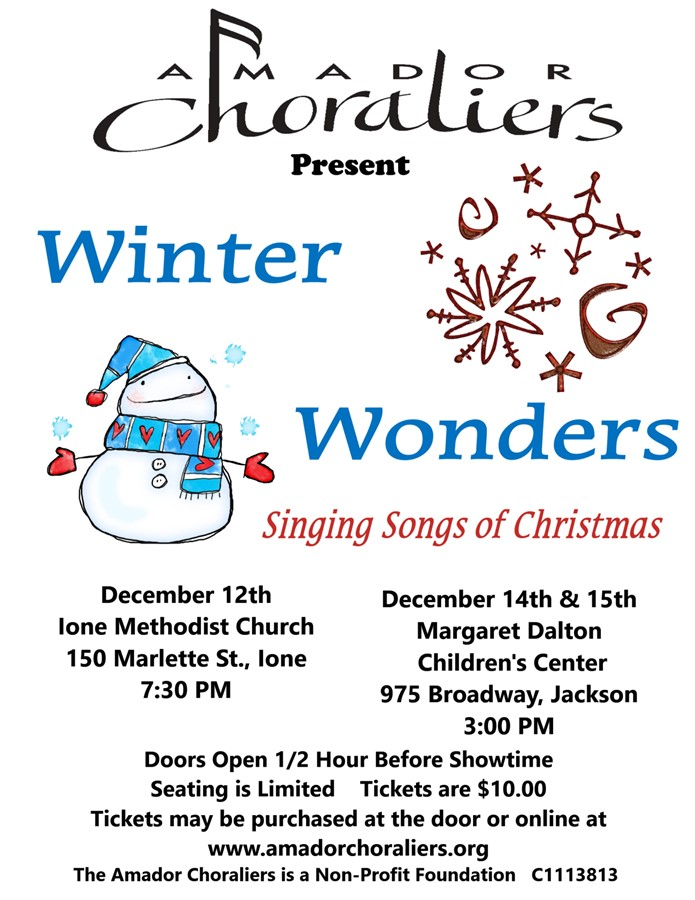 Get Information and buy tickets to Winter Wonders Singing songs of Christmas on Amador Choraliers