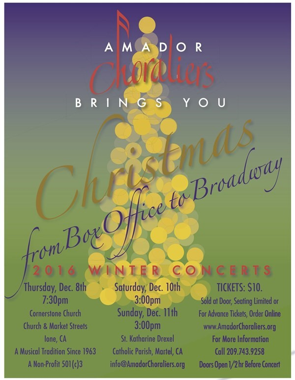 Get Information and buy tickets to Christmas from Box Office to Broadway  on Amador Choraliers