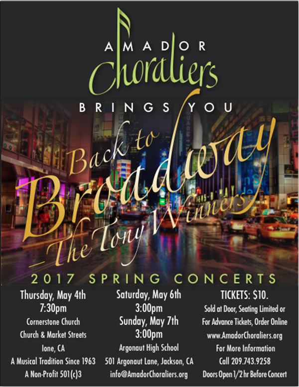 Get Information and buy tickets to Back to Broadway: The Tony Winners  on Amador Choraliers