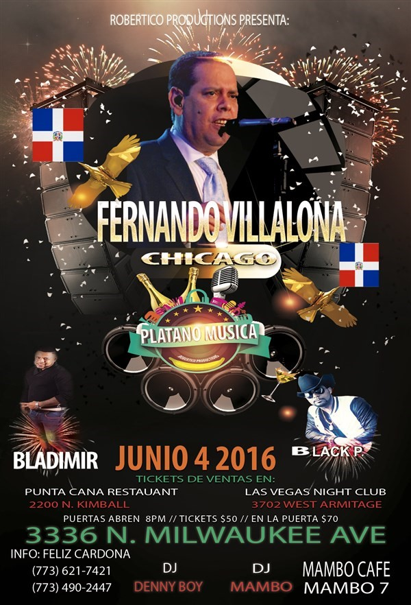 Get Information and buy tickets to FERNANDO VILLALONA EN CHICAGO JUNIO 4  on platano musica