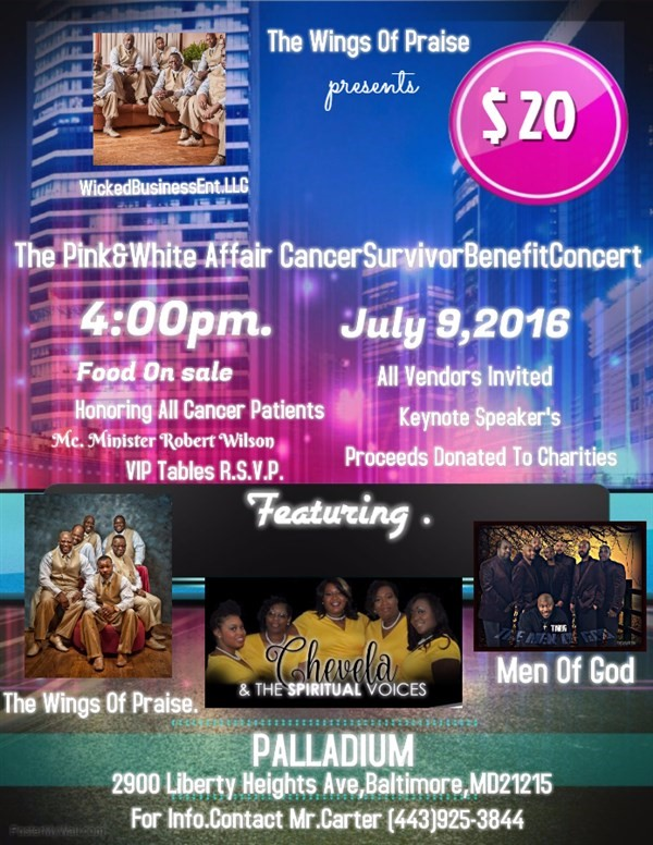 Get Information and buy tickets to The Pink& Pink&White Affairs Cancer Survivor Benefit Concert  on Wicked Business Entertainment