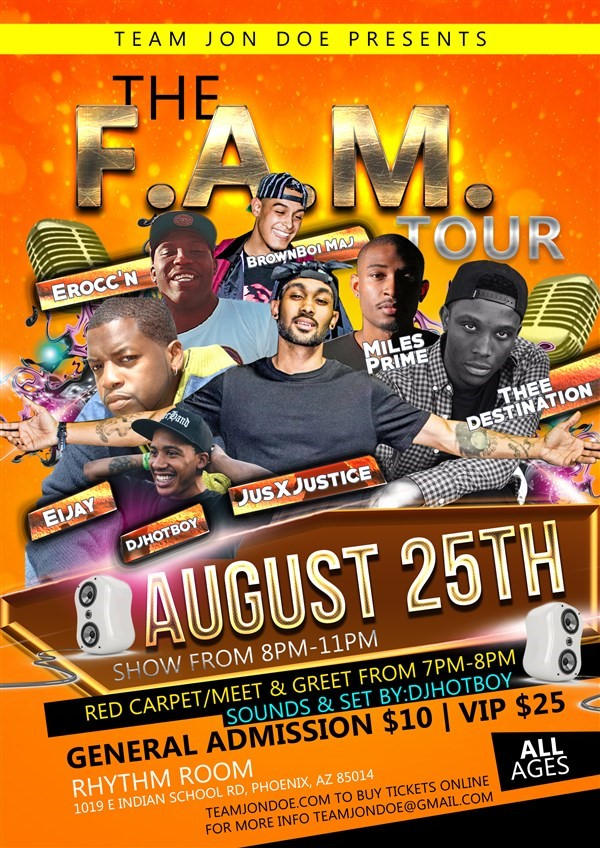 Get Information and buy tickets to F.A.M. Tour  on teamjondoe.com