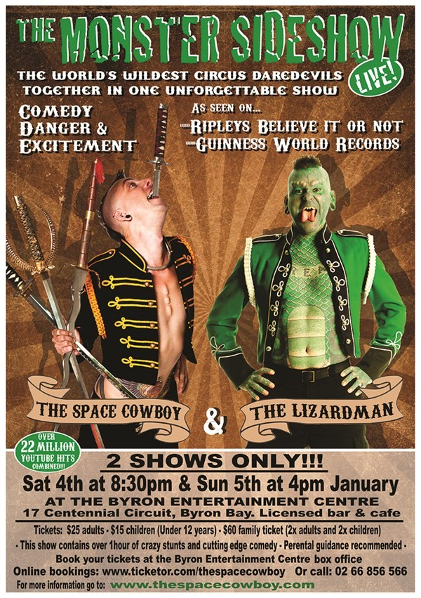 Get Information and buy tickets to The Monster Sideshow THE SPACE COWBOY & THE LIZARDMAN - LIVE! on The Space Cowboy