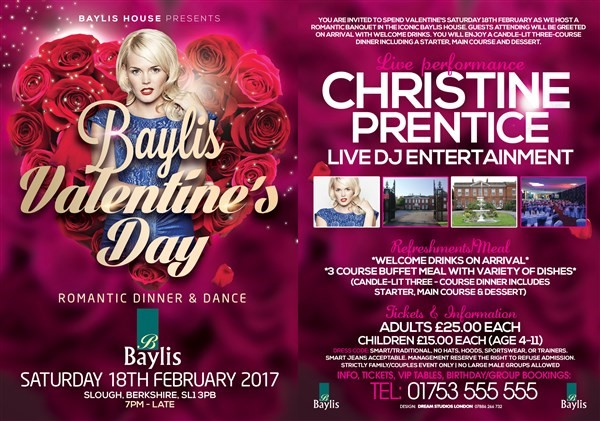 Get Information and buy tickets to Valentines Dinner & Dance Valentines 2017 on Baylis house hotel