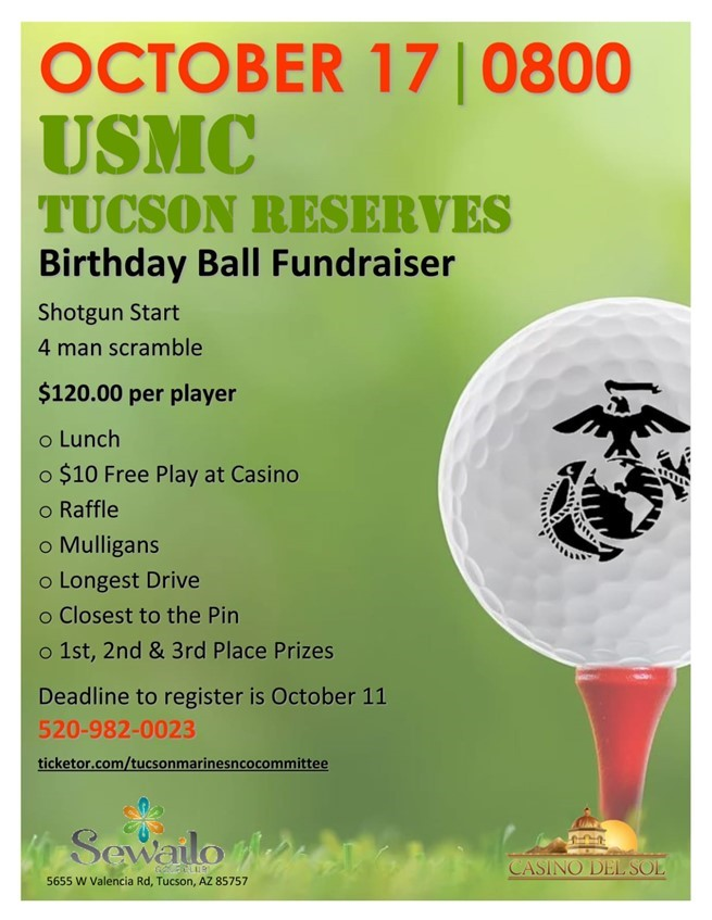 Get Information and buy tickets to Golf Tournament Annual Birthday Ball Fundraiser on Tucson Marines NCO Committee