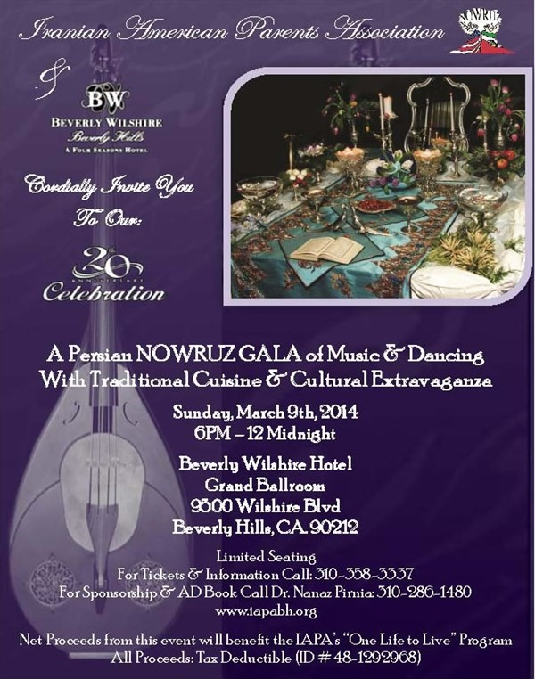 Get Information and buy tickets to IAPA 20th Anniversary Nowruz Gala  on Iranian American Parents A.
