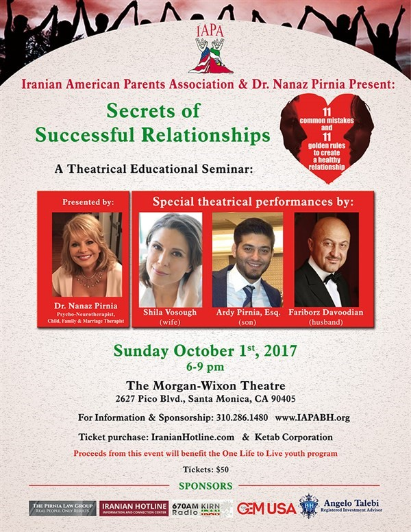 Get Information and buy tickets to Secrets of Successful Relationships  on Iranian American Parents A.