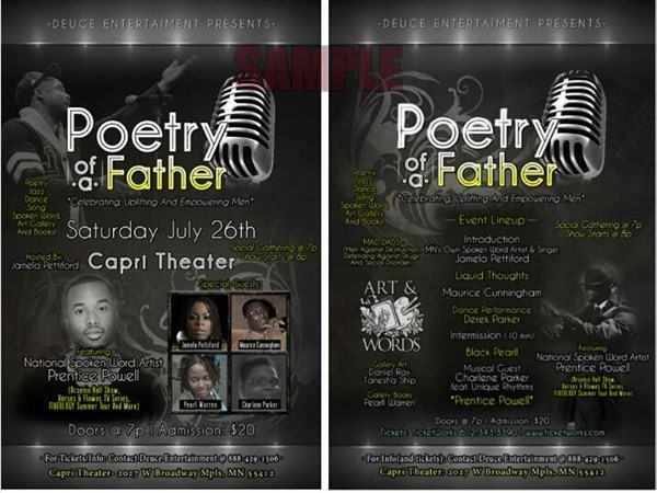 Get Information and buy tickets to POETRY OF A FATHER BY DEUCE ENTERTAINMENT on Sophia