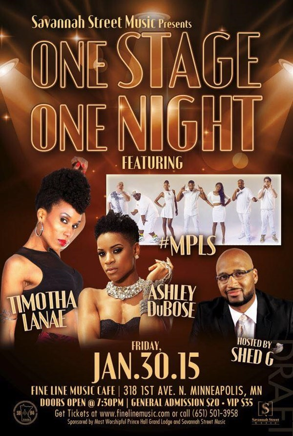 Get Information and buy tickets to ONE STAGE! ONE NIGHT! AT THE FINE LINE MUSIC CAFE PRESENTED BY SAVANNAH STREET MUSIC on Sophia