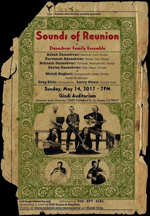 Get Information and buy tickets to Sounds of Reunion Daneshavar Family Ensemble on Persian Arts Society
