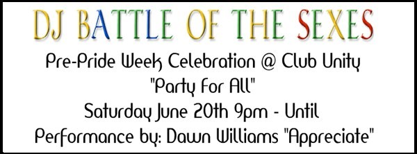"""Get Information and buy tickets to Pre Pride Week """"DJ Battle of the Sexes"""" @ CLUB UNITY  on Event Posse"""