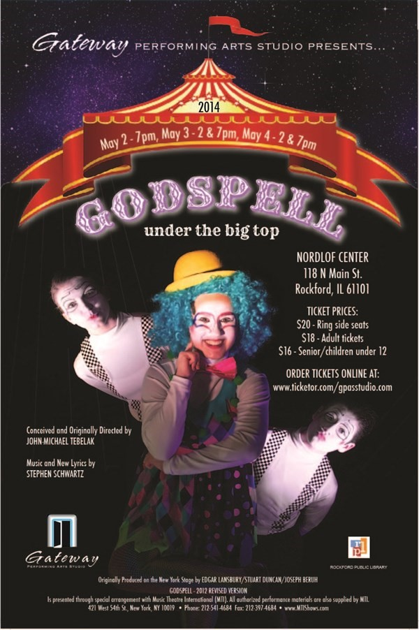 "Get Information and buy tickets to Godspell ""Under The Big Top""  on Gateway Performing Arts Studio"