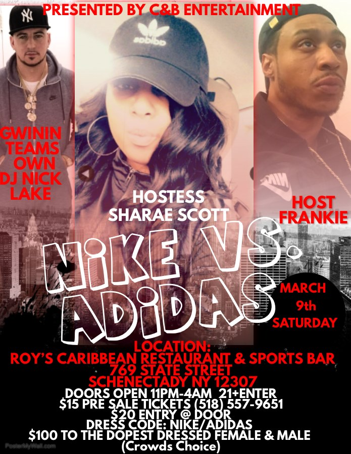 Get Information and buy tickets to Nike vs Adidas  on C&B Entertainment, LLC