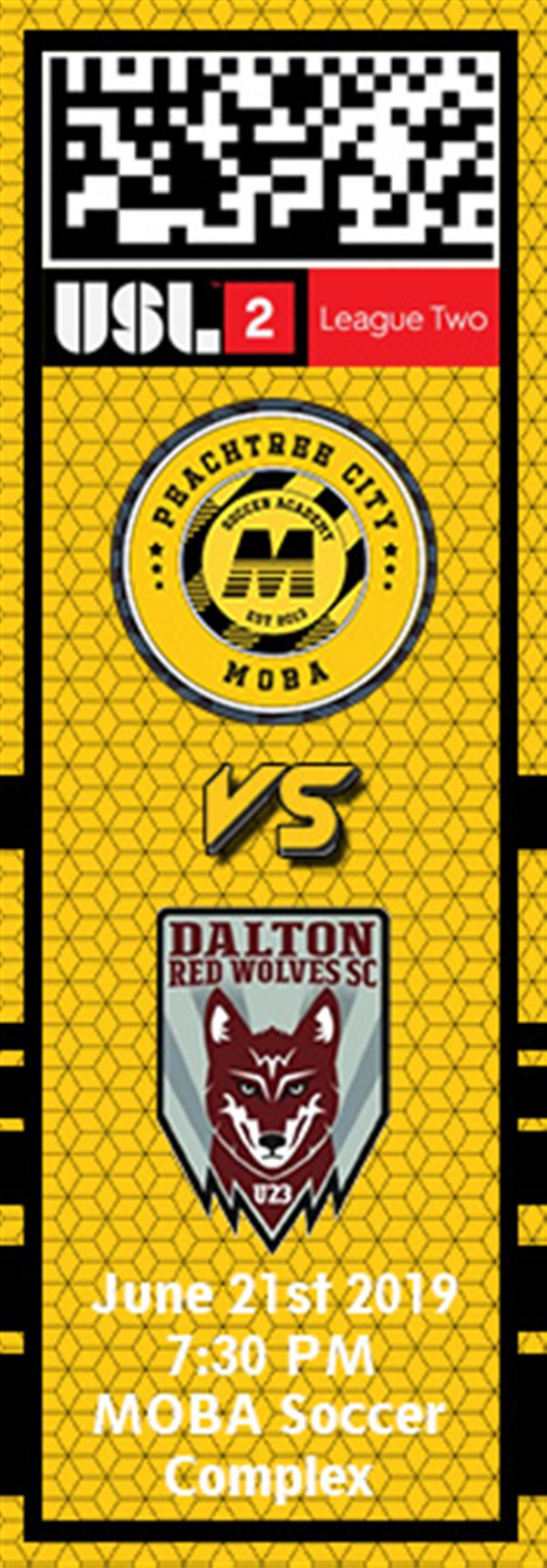 Get Information and buy tickets to PTC MOBA vs. Dalton Red Wolves USL2 on MOBA Soccer Academy
