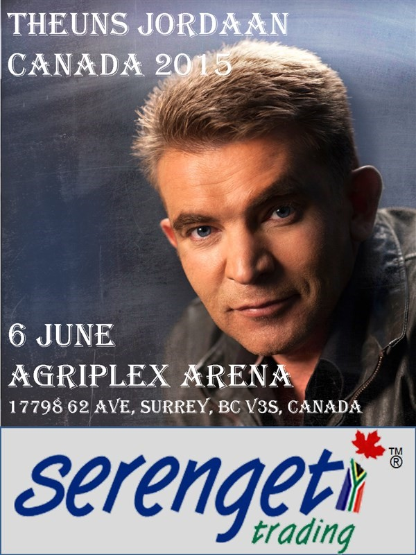 Get Information and buy tickets to THEUNS JORDAAN IN VANCOUVER  on South African Events Pty Ltd