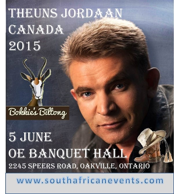 Get Information and buy tickets to THEUNS JORDAAN IN TORONTO  on South African Events Pty Ltd