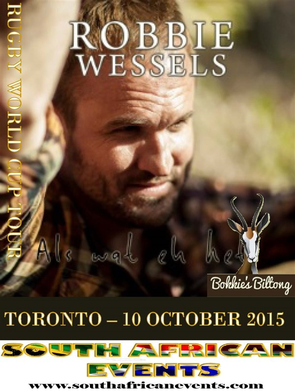 Get Information and buy tickets to Robbie Wessels in Toronto  on South African Events Pty Ltd