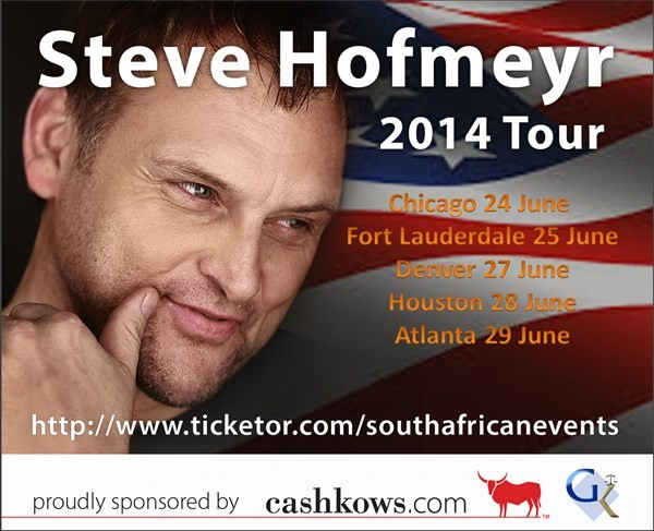 Get Information and buy tickets to Steve Hofmeyr in Chicago  on South African Events Pty Ltd