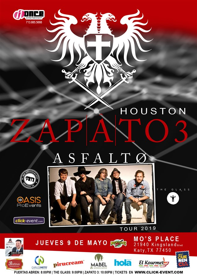 Get Information and buy tickets to ZAPATO 3 Tour Asfalto 2019 Preventa el 9 de Marzo 11am - $30 (por pocos dias) on www.click-event.com