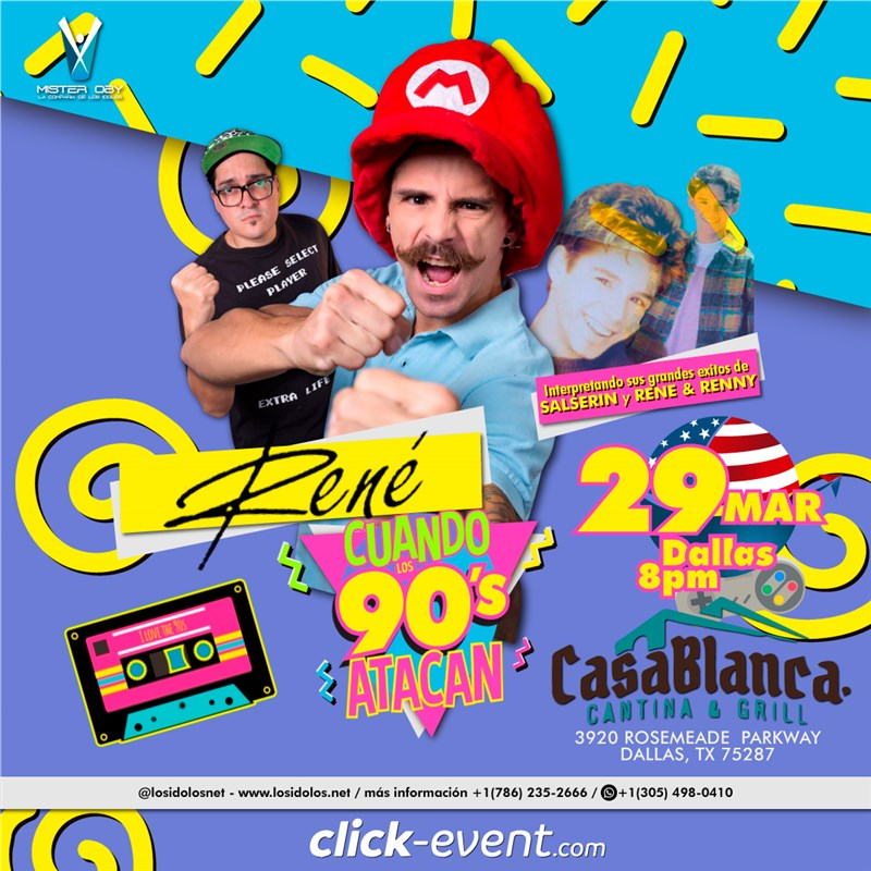 Get Information and buy tickets to Rene y cuando los 90 atacan (y lo Mejor de Salserin) VIP MEET & GREET $40  - Reg $25  Dallas Tx on www.click-event.com