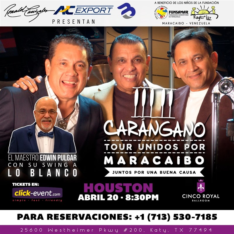 Get Information and buy tickets to Carangano - Tour Unidos por Maracaibo - Houston Reg $35 - Vip $50 on www.click-event.com