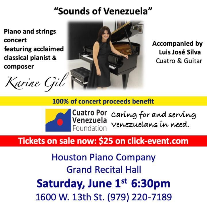 "Get Information and buy tickets to ""Sounds of Venezuela"" Karine Gil - HOUSTON Reg $25 100% benefit Cuatro Por Venezuela on www.click-event.com"