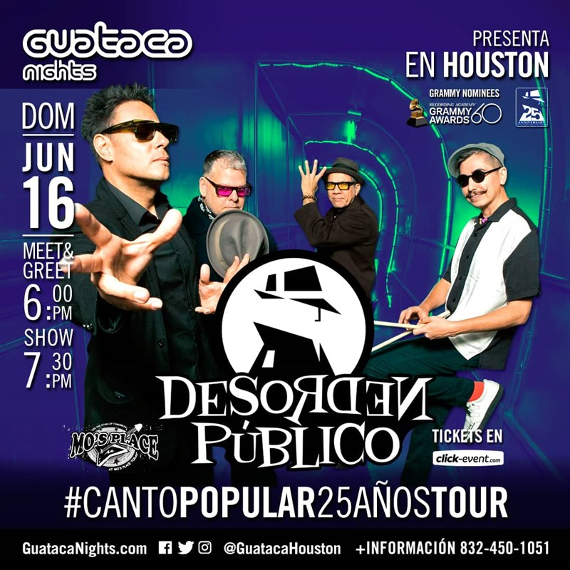 Get Information and buy tickets to Desorden Publico Reg $35 - Vip $50 (M&G $20) on www.click-event.com