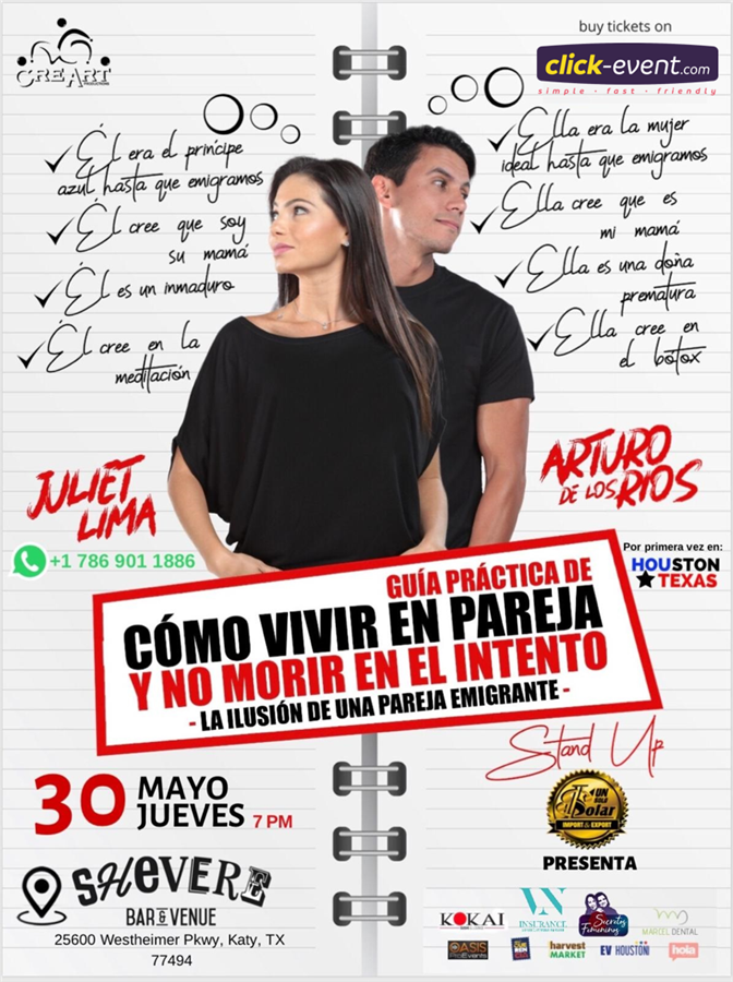 Get Information and buy tickets to Como Vivir en Pareja y no morir el el intento Juliet Lima y Arturo de los Rios Reg $20 - Vip $30 on www.click-event.com