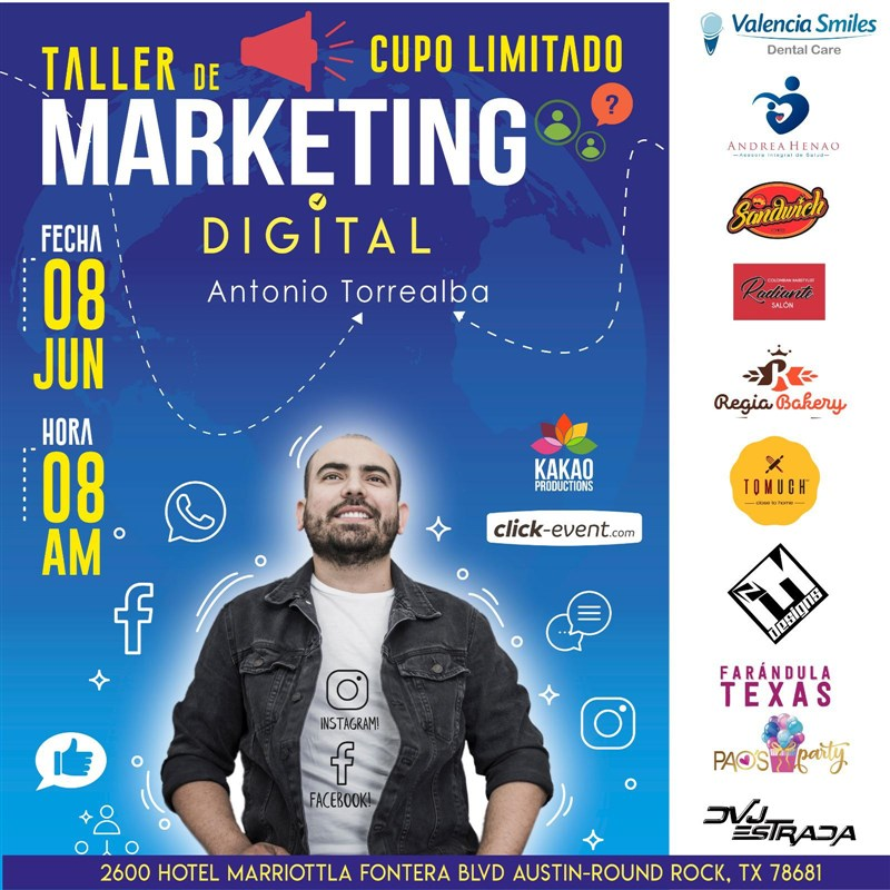 Get Information and buy tickets to Taller de Marketing Digital con Antonio Torrealba Reg $150 hasta Junio 5 on www.click-event.com
