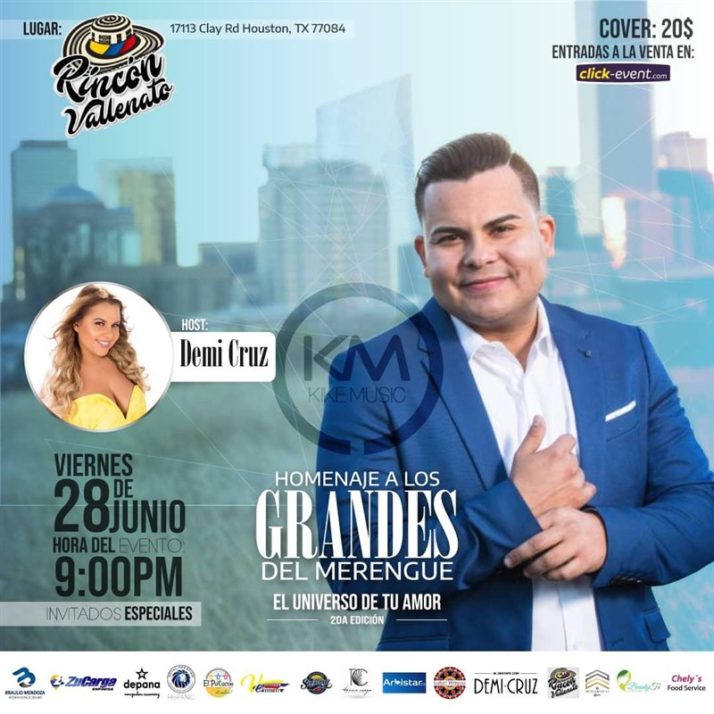 Get Information and buy tickets to Homenaje a los grandes del Merengue Reg $20 on www.click-event.com