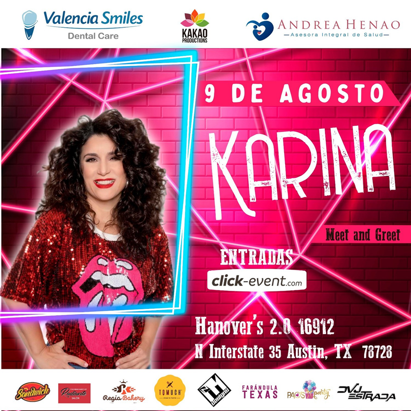 Get Information and buy tickets to Karina En Concierto Reg $35 - Vip $60 - Vip + M&G $70 on www.click-event.com