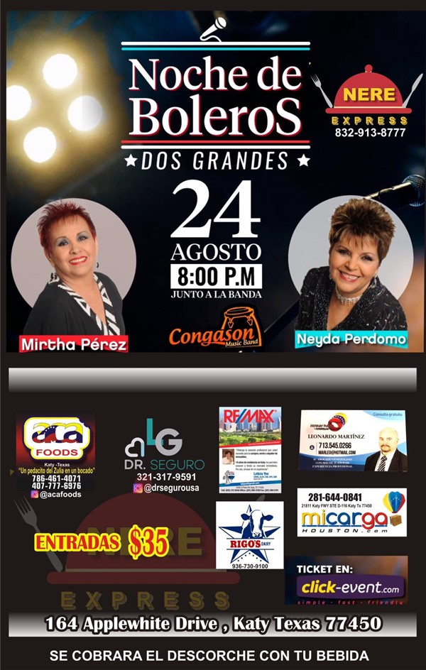 Get Information and buy tickets to Noche de Boleros - Mirtha Perez - Neyda Perdomo Reg $35 on www.click-event.com