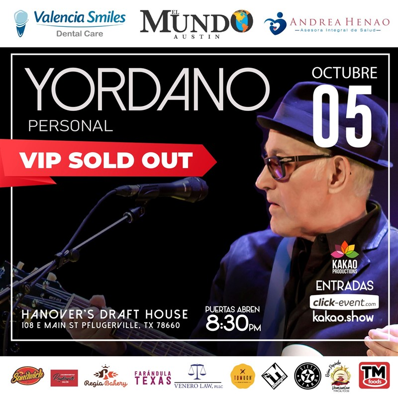 Get Information and buy tickets to Yordano - Acústico - Austin General $35 (Preventa) - Vip $60 (Preventa) on www.click-event.com