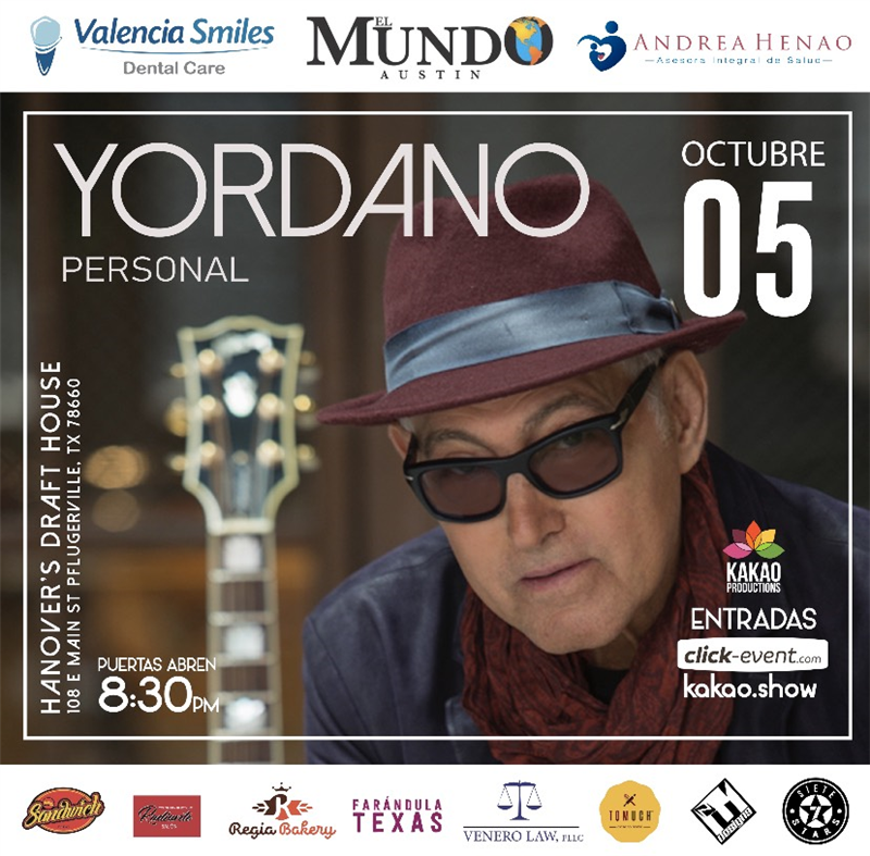 Get Information and buy tickets to Yordano - Acústico - Austin General $35 (Preventa) - Vip $50 (Preventa) on www.click-event.com